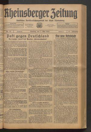 Rheinsberger Zeitung vom 07.05.1935