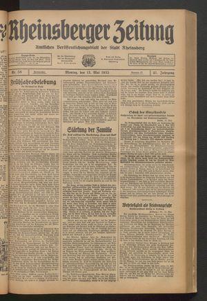Rheinsberger Zeitung vom 13.05.1935