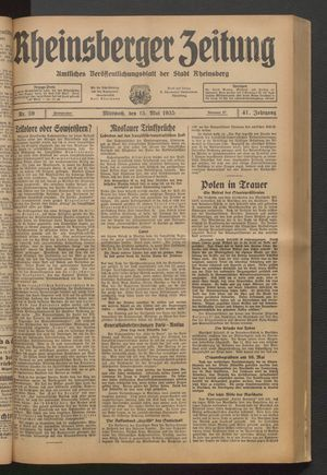 Rheinsberger Zeitung vom 15.05.1935