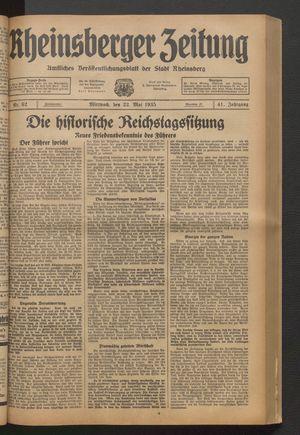 Rheinsberger Zeitung vom 22.05.1935