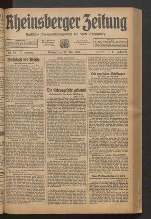 Rheinsberger Zeitung vom 27.05.1935