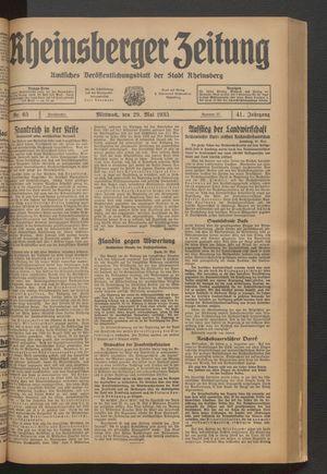 Rheinsberger Zeitung vom 29.05.1935