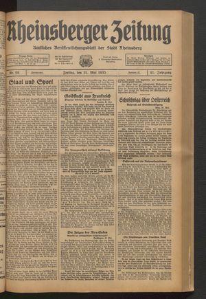 Rheinsberger Zeitung vom 31.05.1935