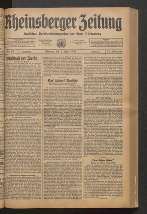 Rheinsberger Zeitung vom 03.06.1935