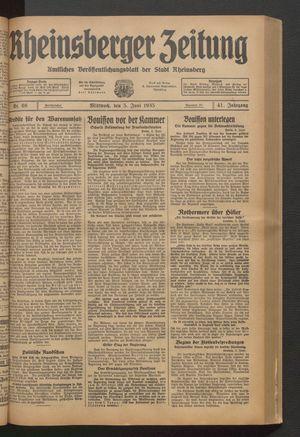 Rheinsberger Zeitung vom 05.06.1935