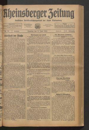 Rheinsberger Zeitung vom 11.06.1935