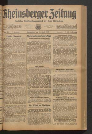 Rheinsberger Zeitung vom 13.06.1935