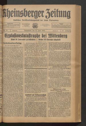 Rheinsberger Zeitung vom 15.06.1935