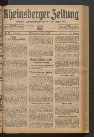 Rheinsberger Zeitung vom 19.06.1935