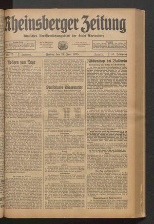 Rheinsberger Zeitung vom 21.06.1935