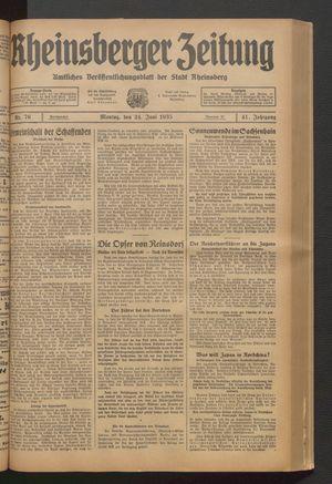 Rheinsberger Zeitung vom 24.06.1935