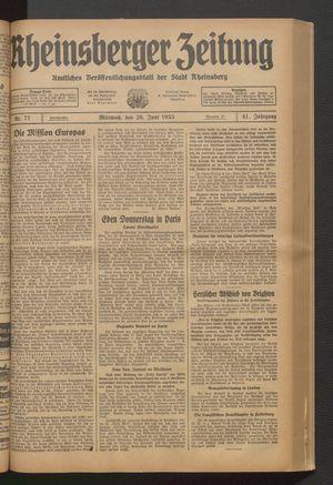 Rheinsberger Zeitung vom 26.06.1935
