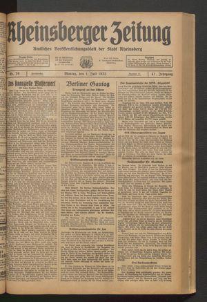 Rheinsberger Zeitung vom 01.07.1935