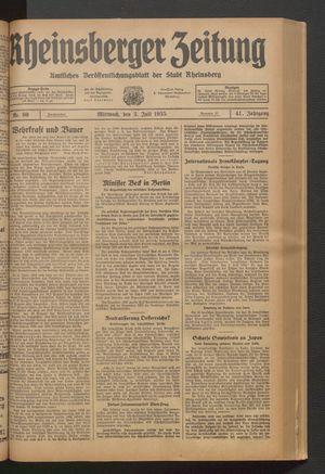 Rheinsberger Zeitung vom 03.07.1935