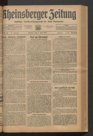 Rheinsberger Zeitung vom 05.07.1935