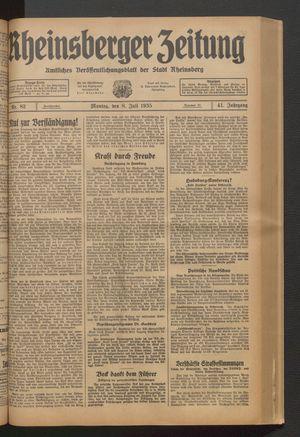 Rheinsberger Zeitung vom 08.07.1935