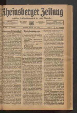 Rheinsberger Zeitung vom 10.07.1935