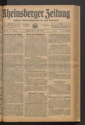 Rheinsberger Zeitung vom 12.07.1935
