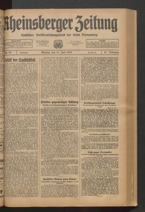 Rheinsberger Zeitung vom 15.07.1935