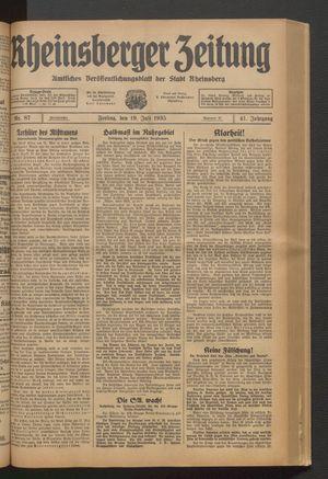 Rheinsberger Zeitung vom 19.07.1935