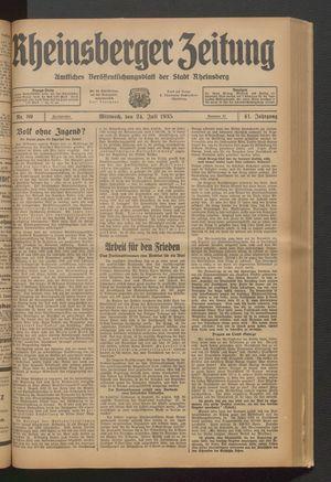 Rheinsberger Zeitung vom 24.07.1935