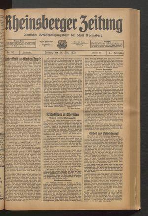 Rheinsberger Zeitung vom 26.07.1935