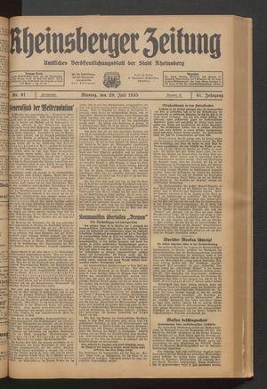 Rheinsberger Zeitung vom 29.07.1935