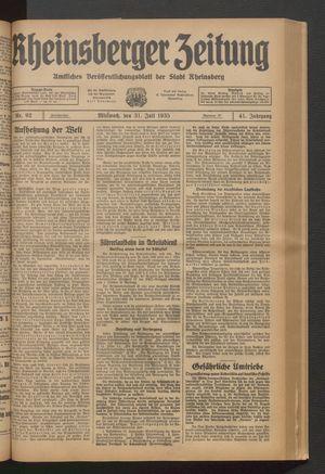 Rheinsberger Zeitung on Jul 31, 1935