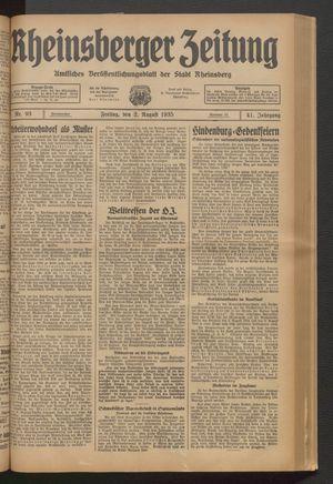 Rheinsberger Zeitung vom 02.08.1935
