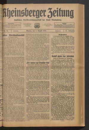 Rheinsberger Zeitung vom 05.08.1935