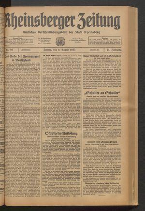 Rheinsberger Zeitung vom 09.08.1935