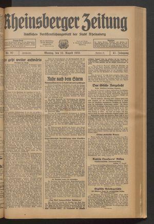 Rheinsberger Zeitung vom 12.08.1935
