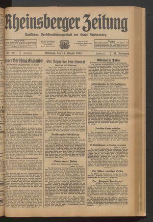 Rheinsberger Zeitung vom 14.08.1935