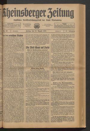 Rheinsberger Zeitung vom 16.08.1935