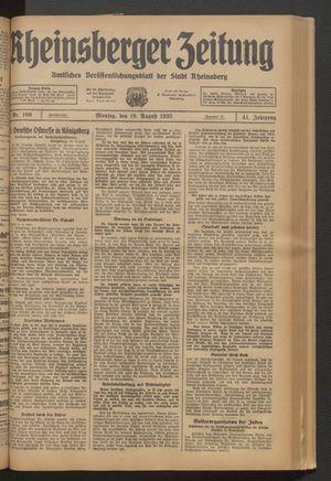 Rheinsberger Zeitung vom 19.08.1935