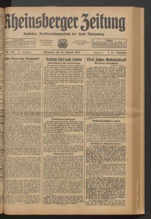 Rheinsberger Zeitung vom 21.08.1935