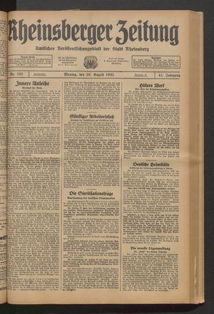 Rheinsberger Zeitung vom 26.08.1935