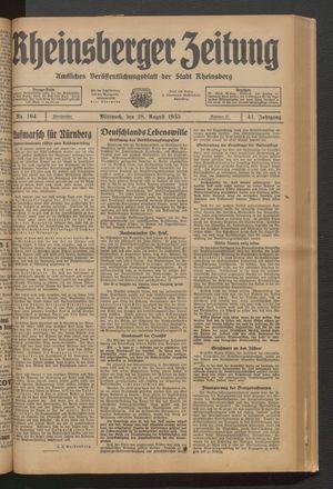 Rheinsberger Zeitung vom 28.08.1935