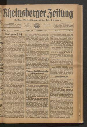 Rheinsberger Zeitung vom 13.09.1935