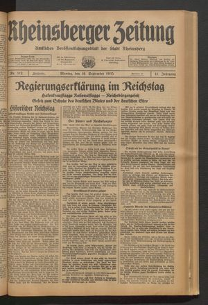Rheinsberger Zeitung vom 16.09.1935