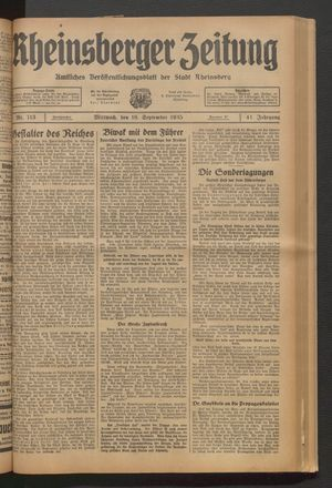 Rheinsberger Zeitung vom 18.09.1935