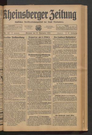 Rheinsberger Zeitung vom 25.09.1935