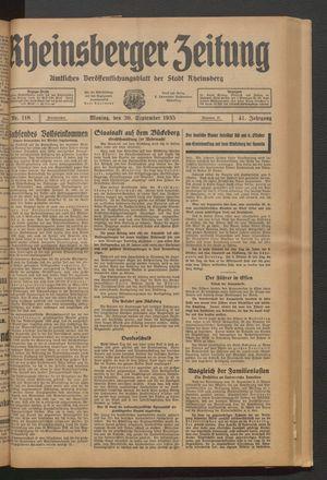 Rheinsberger Zeitung vom 30.09.1935