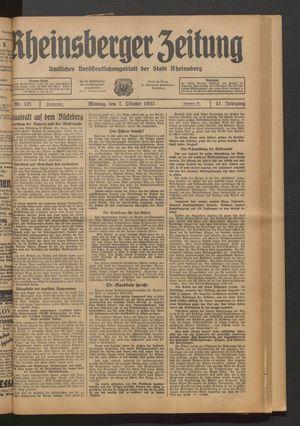 Rheinsberger Zeitung vom 07.10.1935