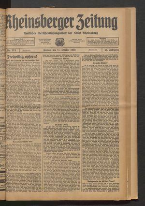 Rheinsberger Zeitung vom 11.10.1935