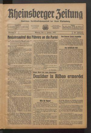 Rheinsberger Zeitung vom 04.01.1937