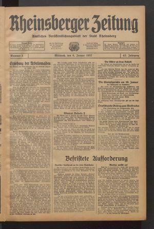 Rheinsberger Zeitung vom 06.01.1937