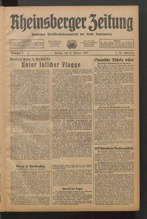 Rheinsberger Zeitung vom 08.01.1937