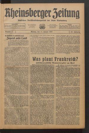 Rheinsberger Zeitung vom 11.01.1937
