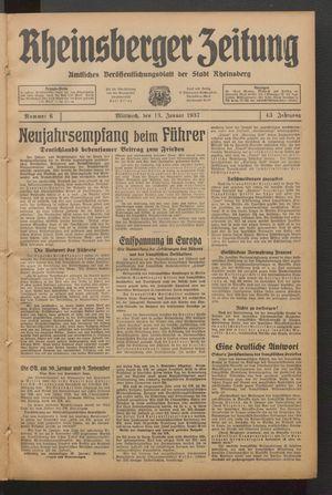 Rheinsberger Zeitung vom 13.01.1937